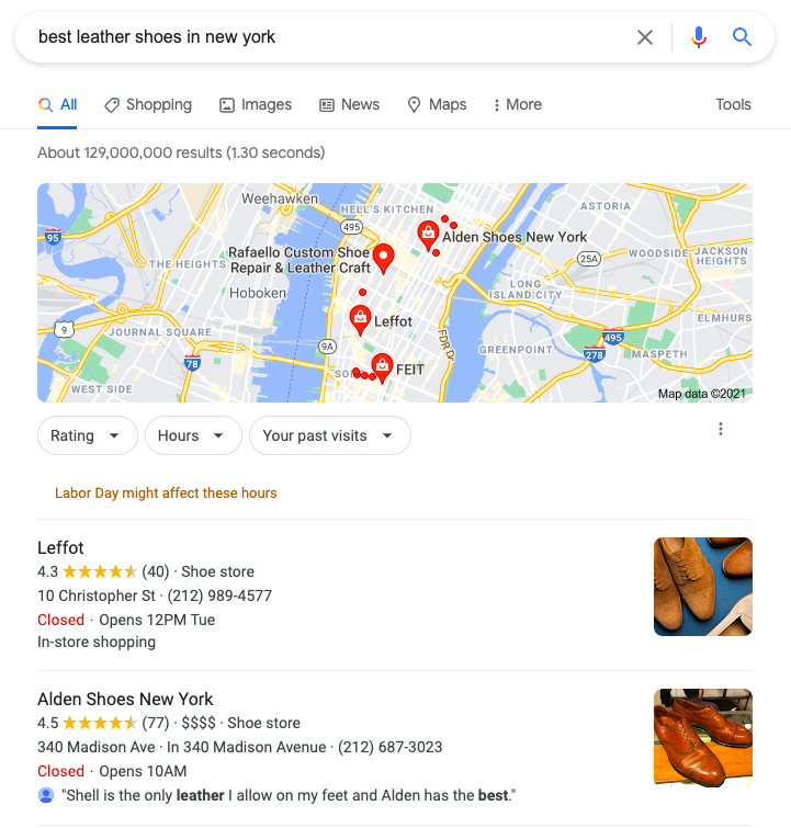 Google search of Best leather shoes in New york.